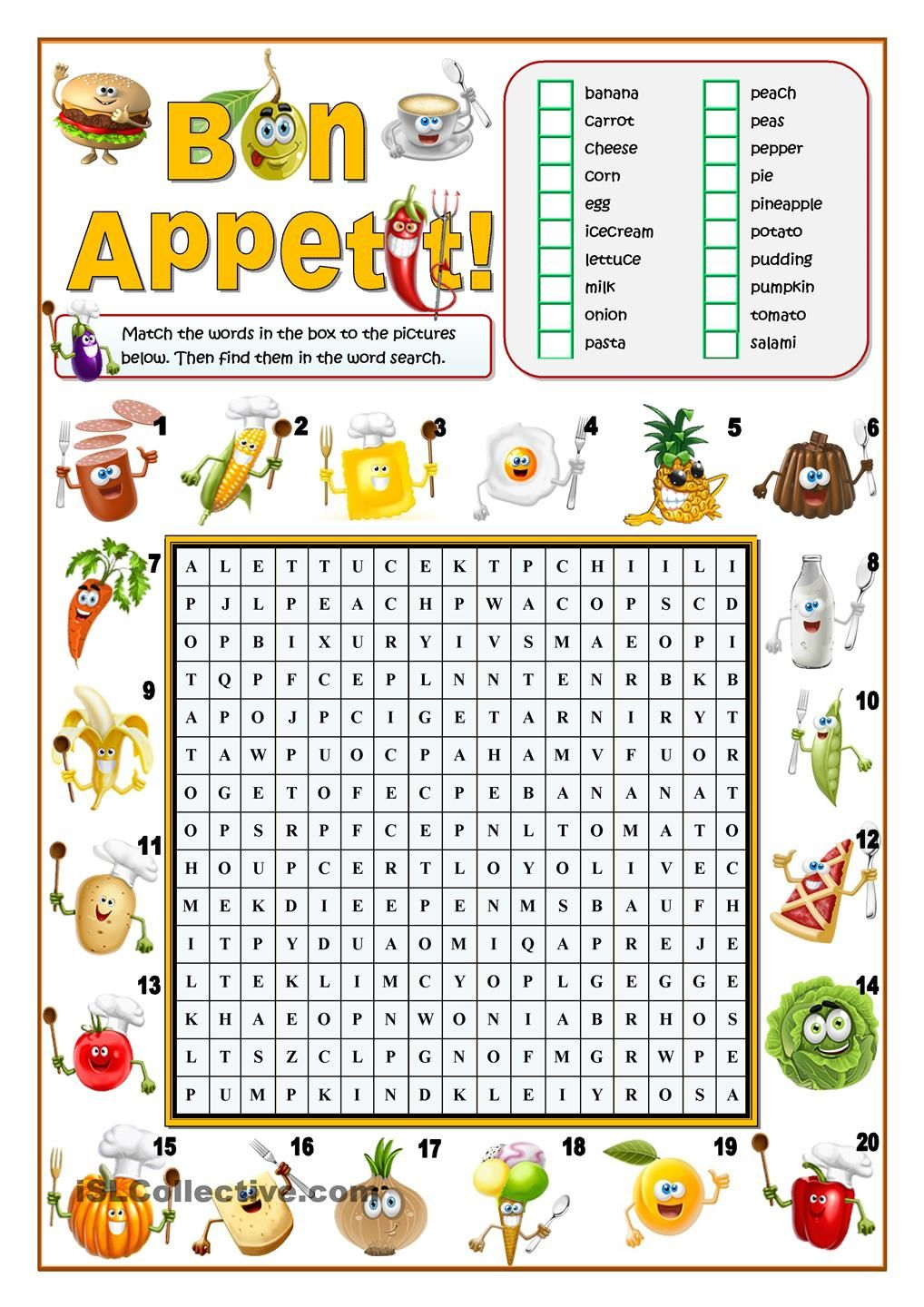BON APPETIT! - FOOD WORD SEARCH | English (crosswords) | Pinterest ...