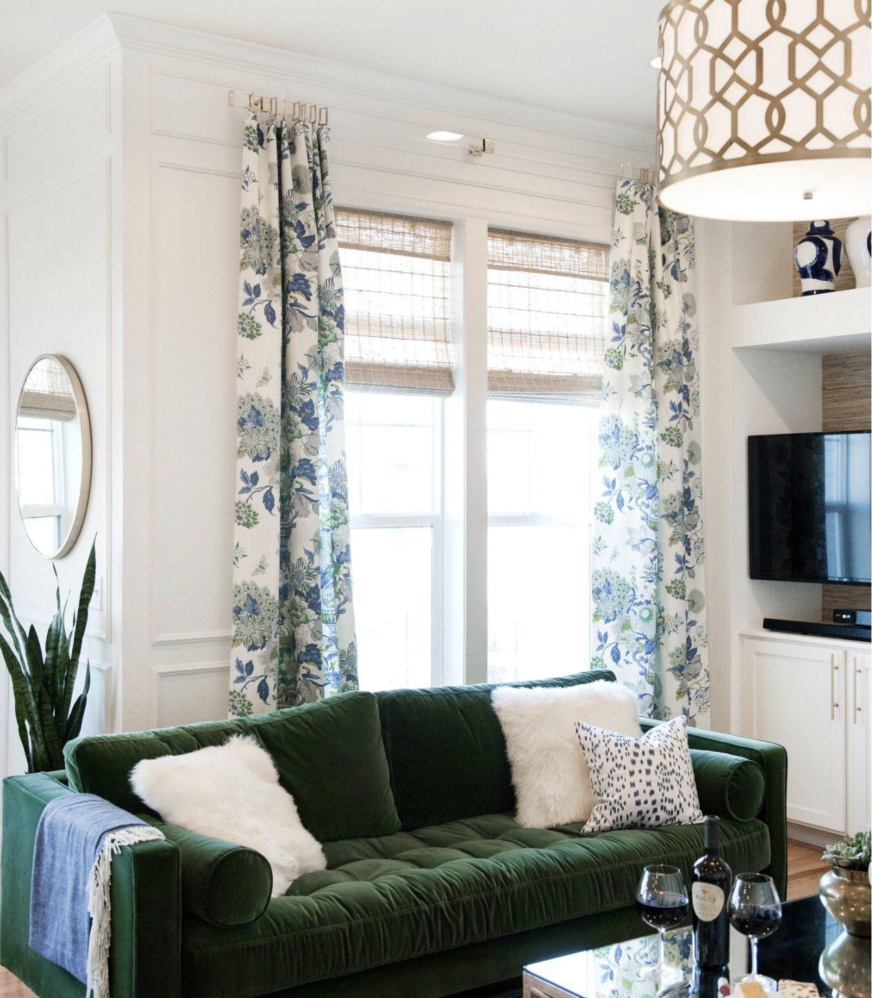 Blue Green Curtains Blue Green Floral Vase Large Floral Curtain Custom – JLL HOME | Living Room Green, Stylish Living Room, Curtains Living Room