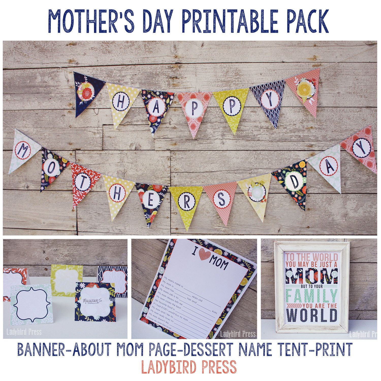 printable mother 39 s day party pack mother 39 s day banner mothers day sign about mom page. Black Bedroom Furniture Sets. Home Design Ideas