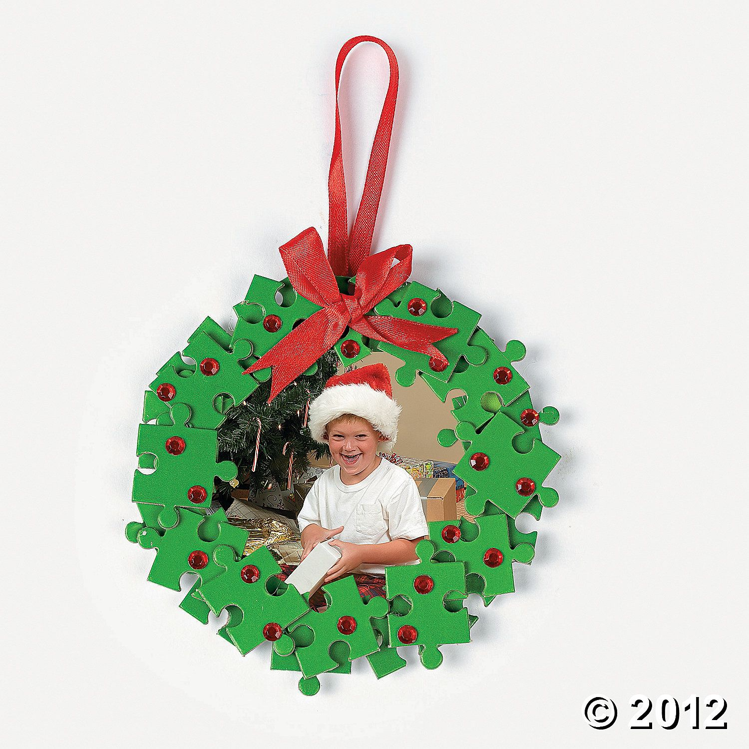 Puzzle Piece Wreath Photo Frame Ornament  Could Diy Without