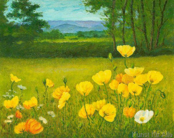 Rudolf Weiss Gelbe Mohnblumen Kunstdruck Leinwandbild Gerahmtes Bild Mohnblume Kunst Ideen Und Schone Kunste