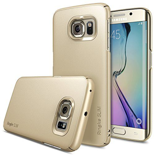 Galaxy S6 Edge Case - Ringke SLIM ***Top and Bottom Coverage*** [ROYAL GOLD] Fluid Curved Edge Touch Design Advanced Dual Coating Technology All Around Protection Hard Case for Samsung Galaxy S6 Edge - ECO Package