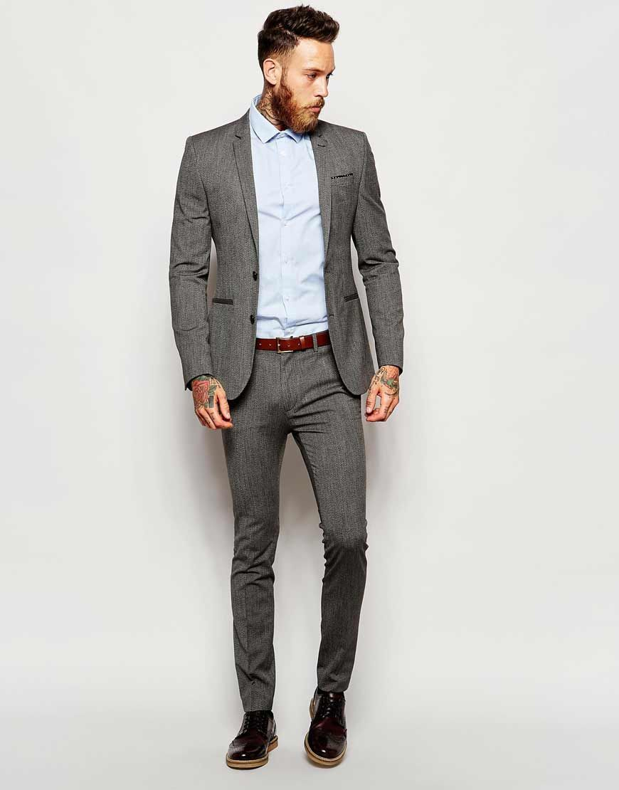 ASOS Wedding Super Skinny Suit in Salt and Pepper at asos.com