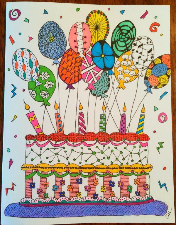 Birthday Zentangle Artistic Birthday Cakes 2 Picture Zentangle