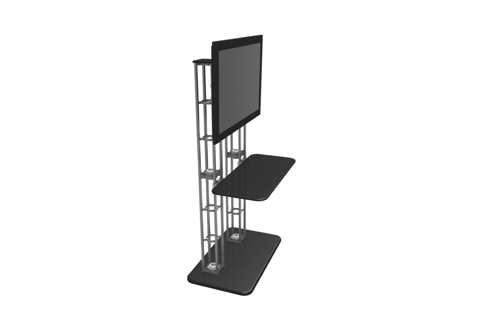 Large Truss Tv Monitor Stand Free Standing With Shelf Option Side