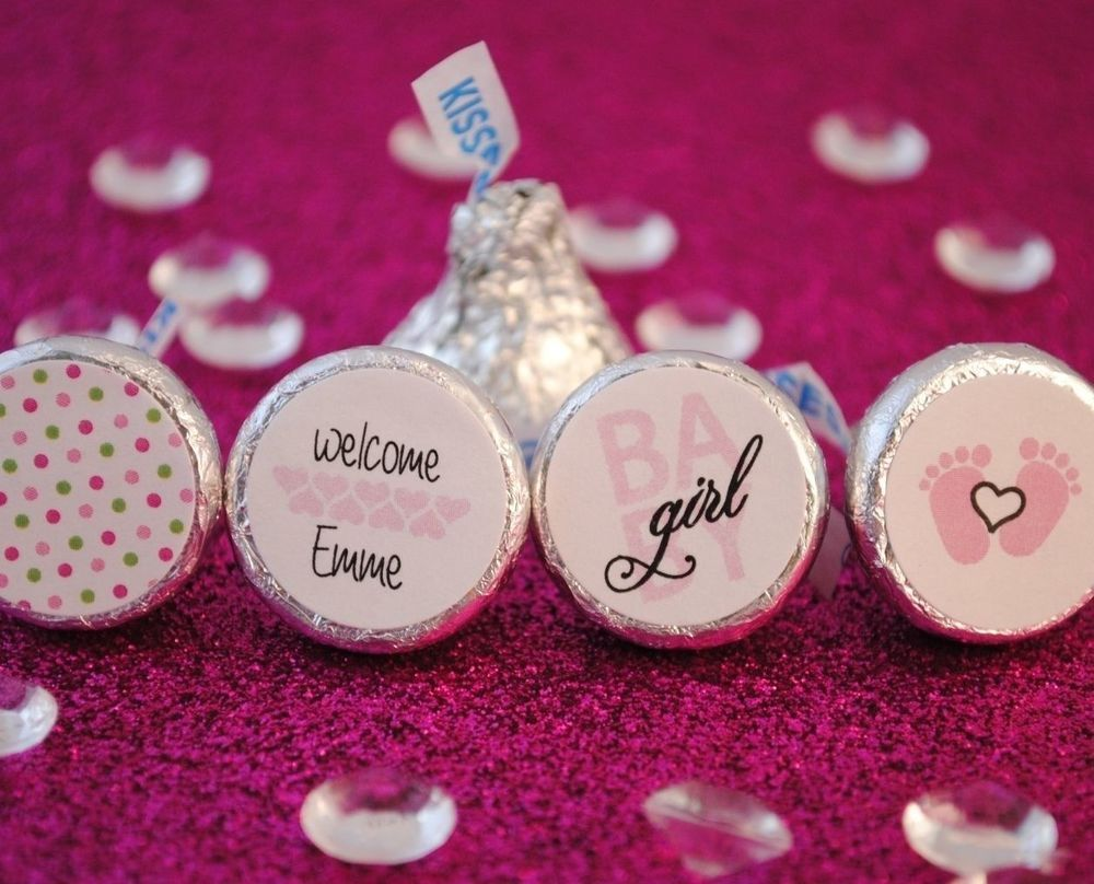108 Baby Girl Personalized Name Hershey Kiss Labels Stickers Favors ...