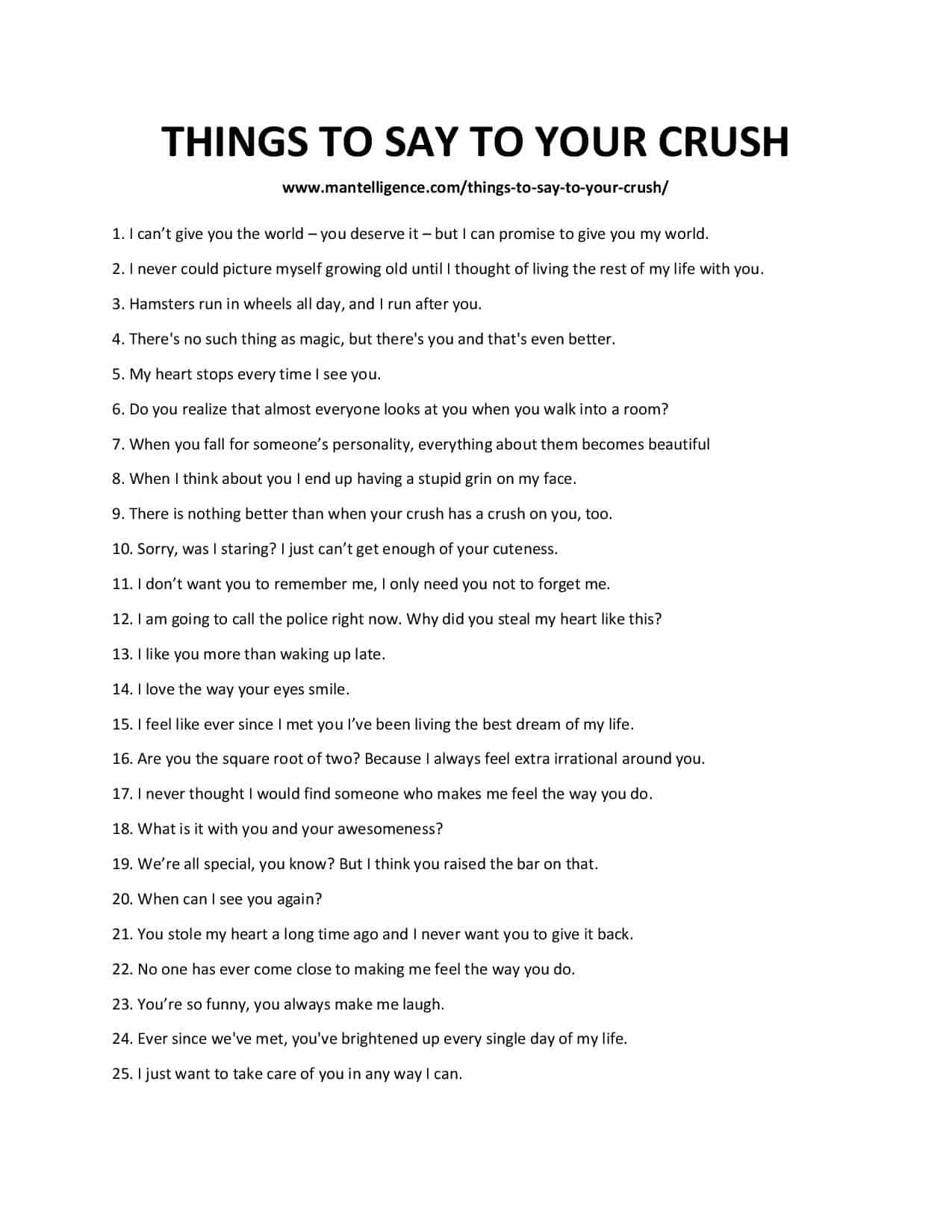51 Things To Say To Your Crush - The only list you need.