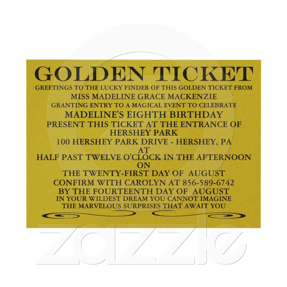 The Golden Ticket Metallic Gold Birthday Invitation | Pinterest ...