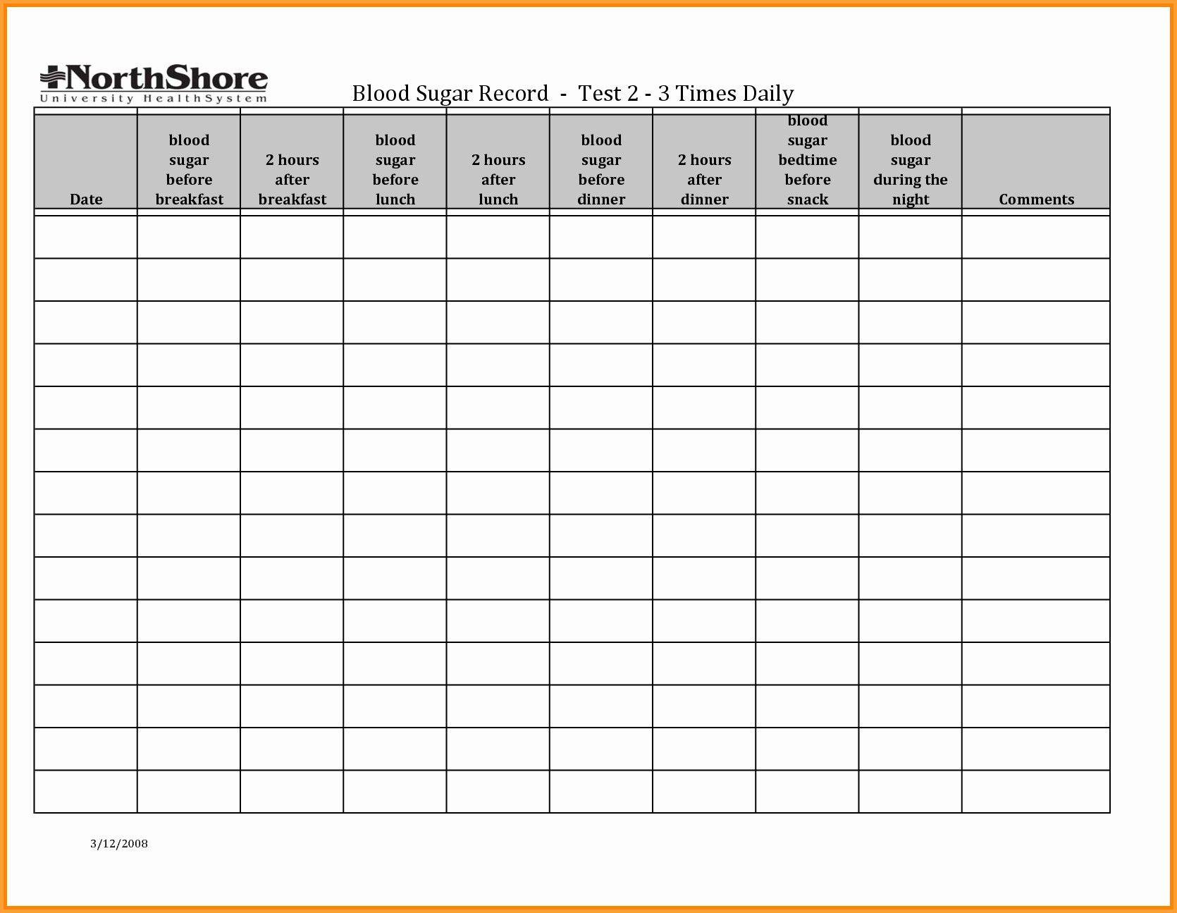 Unique Blood Sugar Recording Chart exceltemplate xls