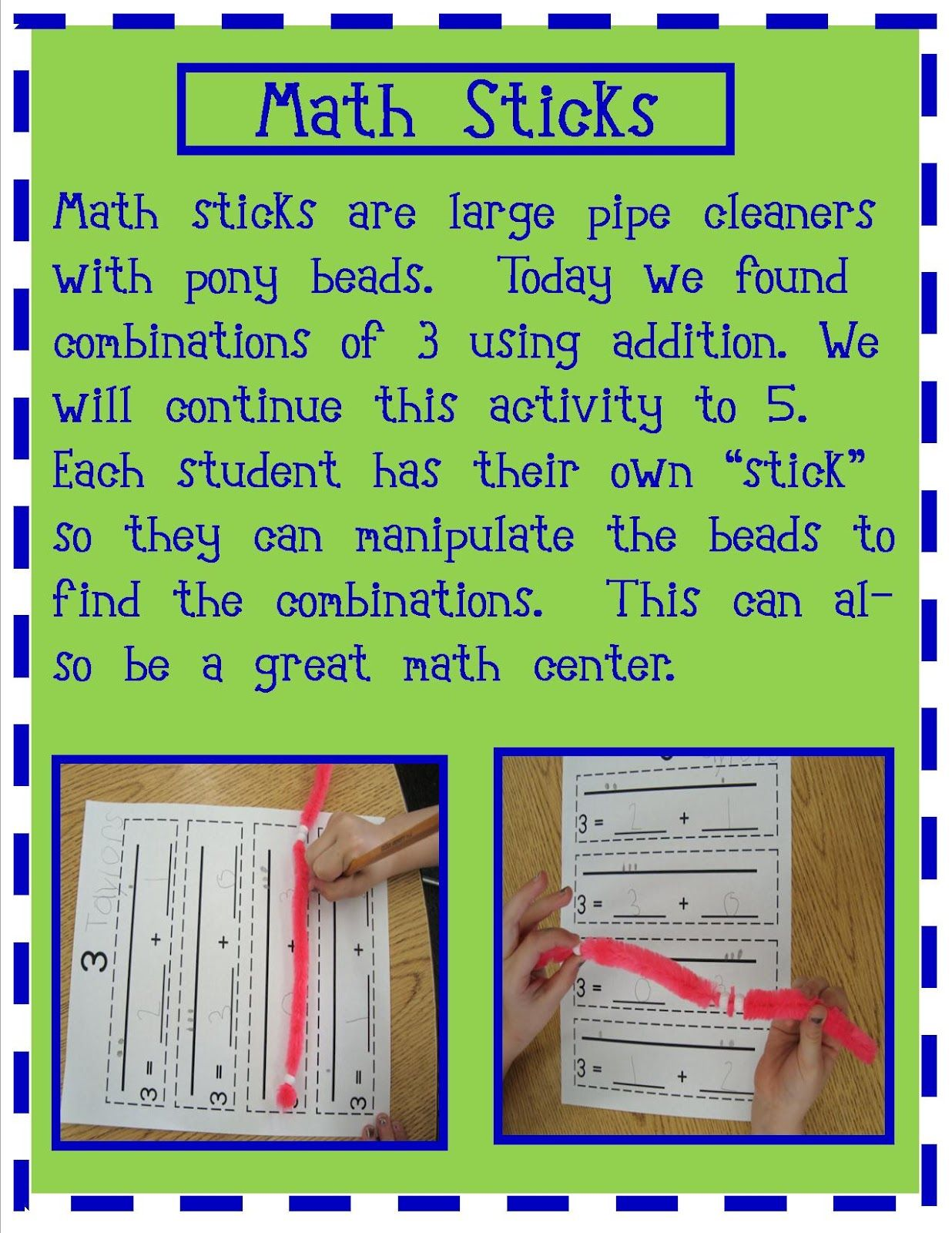 Here S A Series Of Recording Sheets For Composing Numbers To 5 Using Math Sticks
