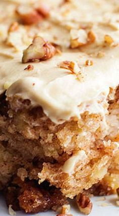 Apple Pecan Spice Cake with Brown Sugar Cream Chee
