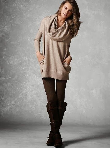 Multi way tunic sweater plus leggings and boots | Women Fashion ...
