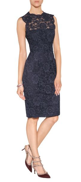 Detailed in a chic shade of ink blue, Valentino's lace overlay sheath is an incredibly elegant choice for evening