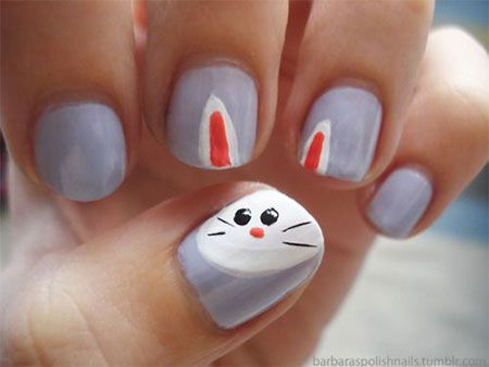 Easy Easter Bunny Nail Art Designs Ideas 2017 For Beginners 5