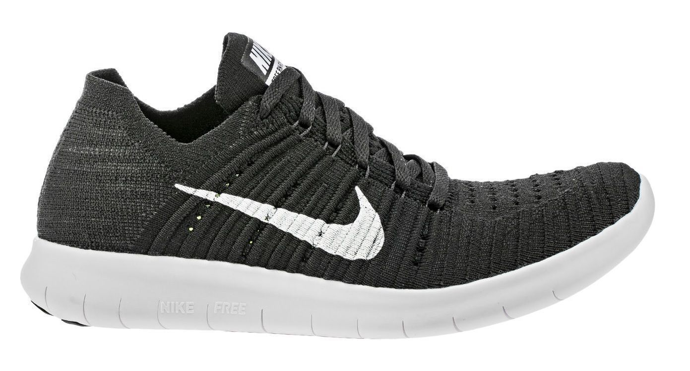 reasonable price retail prices more photos Nike Free Rn Flyknit Womens 831070-001 Black White Running Shoes ...