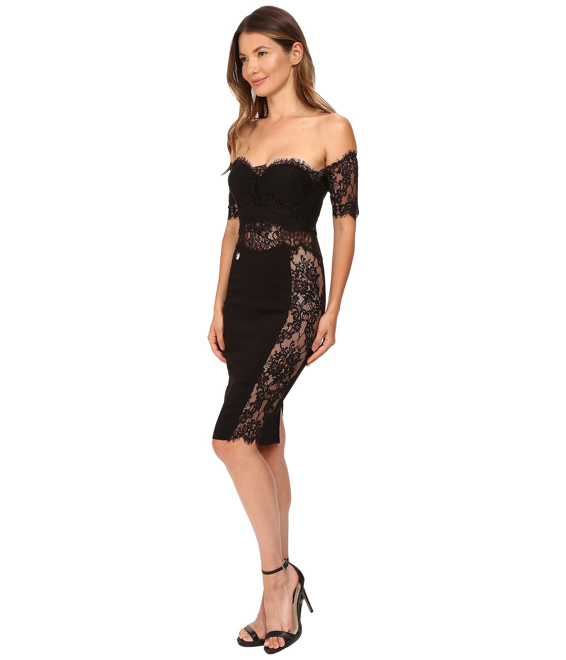 N G S: Philipp Plein Off the Shoulder Placed Lace Dress