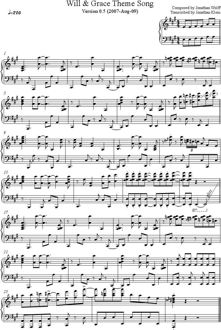 Will Grace Theme Piano Sheet Music Piano Sheet Music Sheet