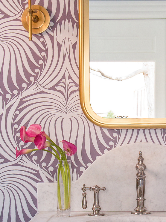 Purple Powder Room Boasts Walls Clad In Farrow Ball Lotus Wallpaper Lined With A