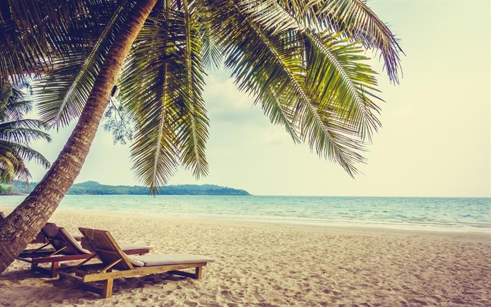 Descargar Fondos De Pantalla Islas Tropicales Playa Hamacas Puesta De Sol Las Olas La Arena Temas De Playa Playas Hermosas Playas Paradisiacas