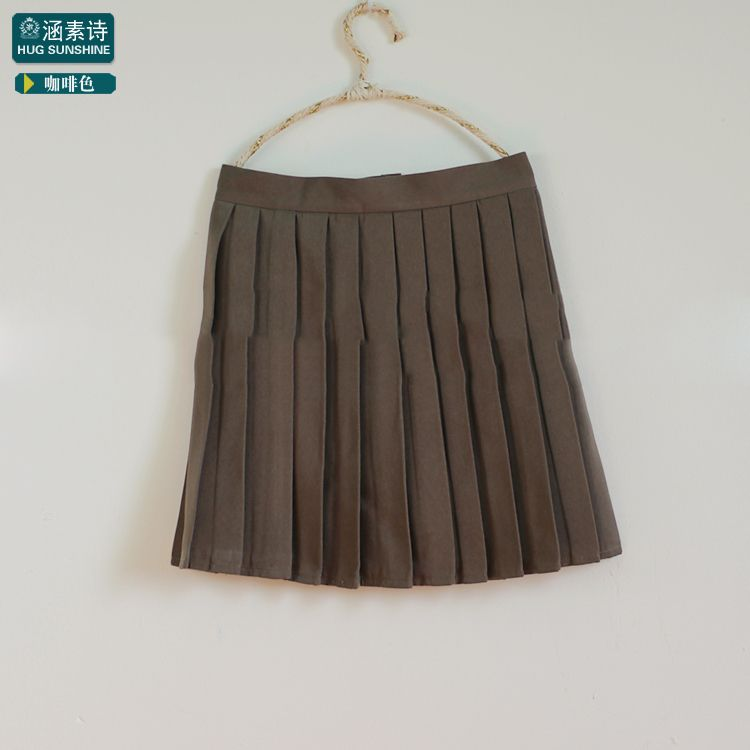 46999fded3 Pure Coffee color Japanese high waist Cosplay school uniform pleated ...