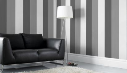 Unity Stripe Paste The Wall Wallpaper In White And Grey By Colours Striped Wallpaper Wall Wallpaper Home Decor
