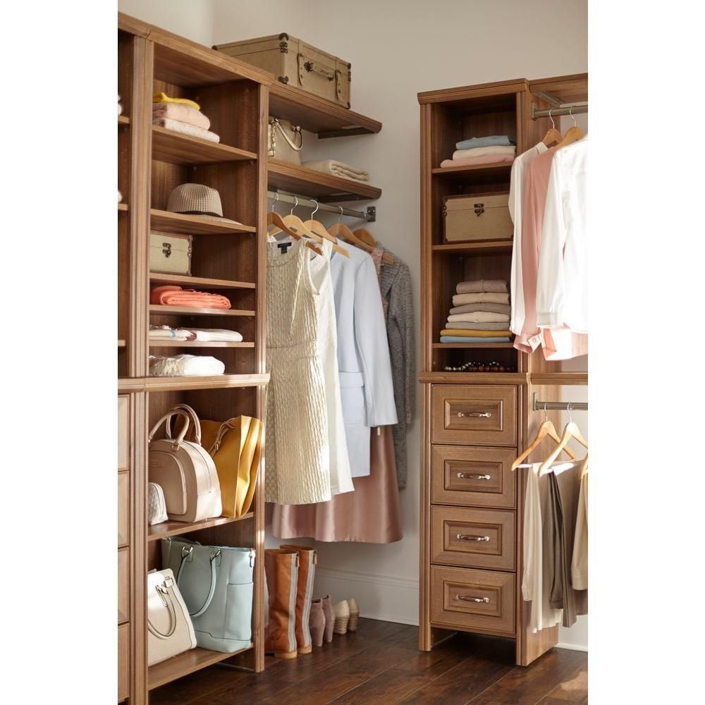 Charming ClosetMaid Impressions 4 Ft. To 9 Ft. W Walnut Narrow Closet Kit 30852    The Home Depot