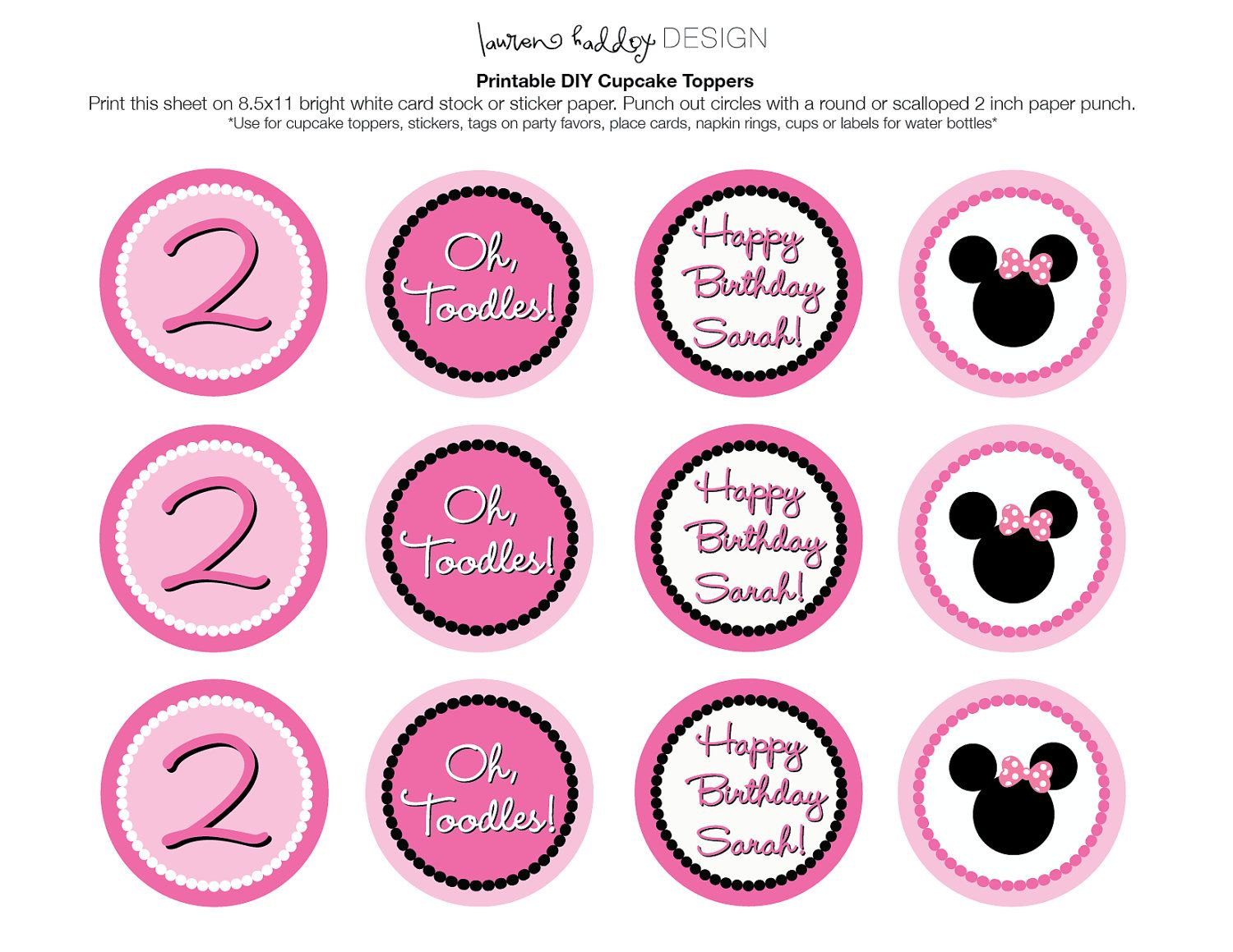 Diy Printable Minnie Mouse Cupcake Toppers By Laurenhaddoxdesigns 5 00 Minnie Mouse Cupcake Toppers Minnie Mouse Cupcakes Minnie Mouse Party