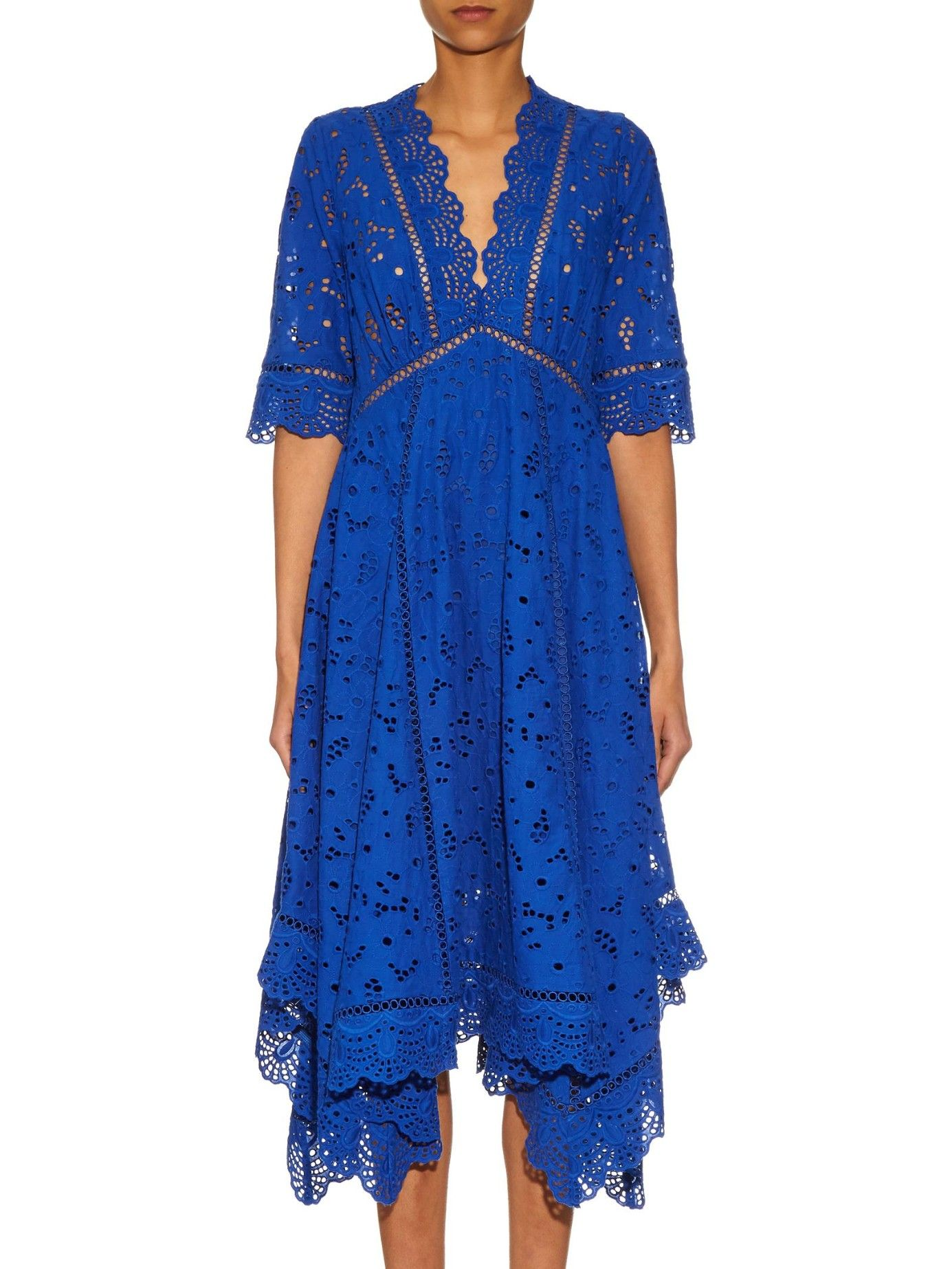 Hyper Eyelet Broderie Anglaise Dress Zimmermann Matchesfashion Us In 2020 Dress Neck Designs Blue Cotton Dress Dresses