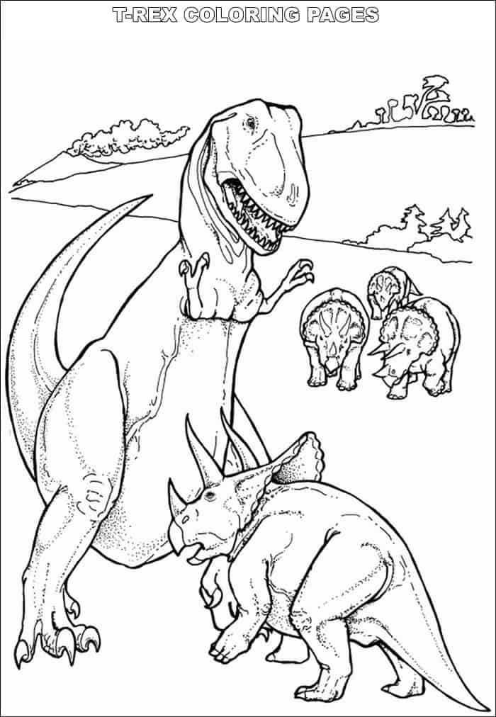 T Rex Vs Triceratops Coloring Pages In 2021 Dinosaur Coloring Pages Dinosaur Coloring Animal Coloring Pages