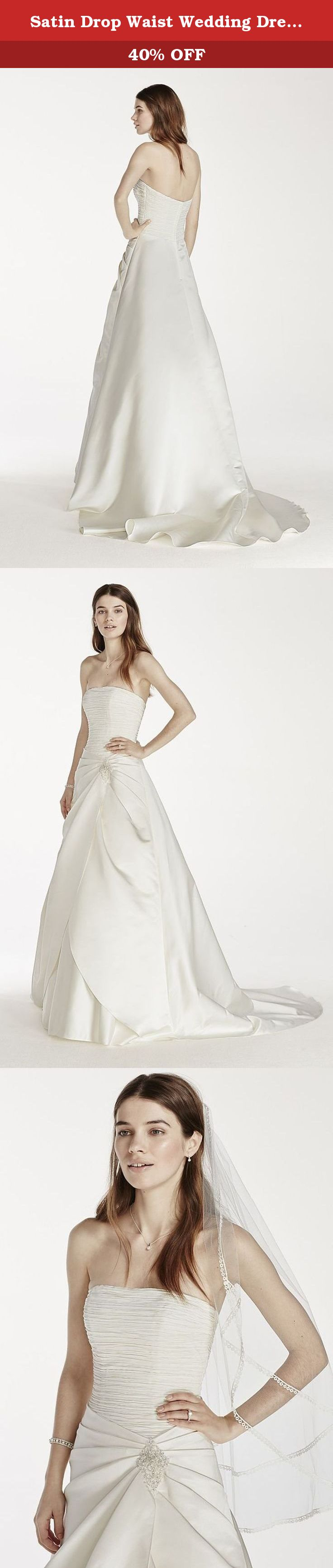 Satin drop waist wedding dress with side split style op ivory