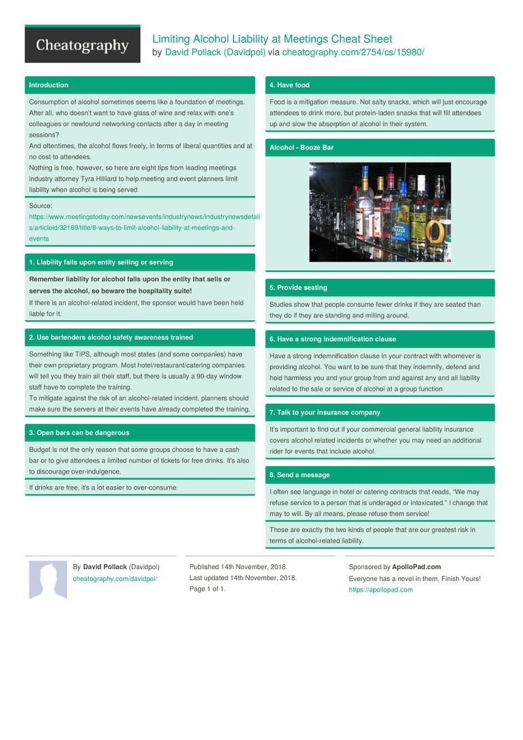 Limiting Alcohol Liability at Meetings Cheat Sheet by
