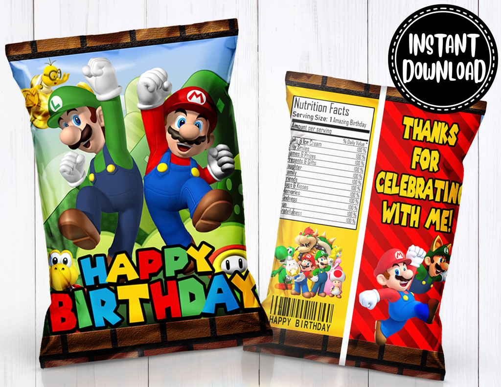 Birthday Party Favor Bags Super Mario Brothers Custom Chip Bags Super Mario Brothers Treat Bags