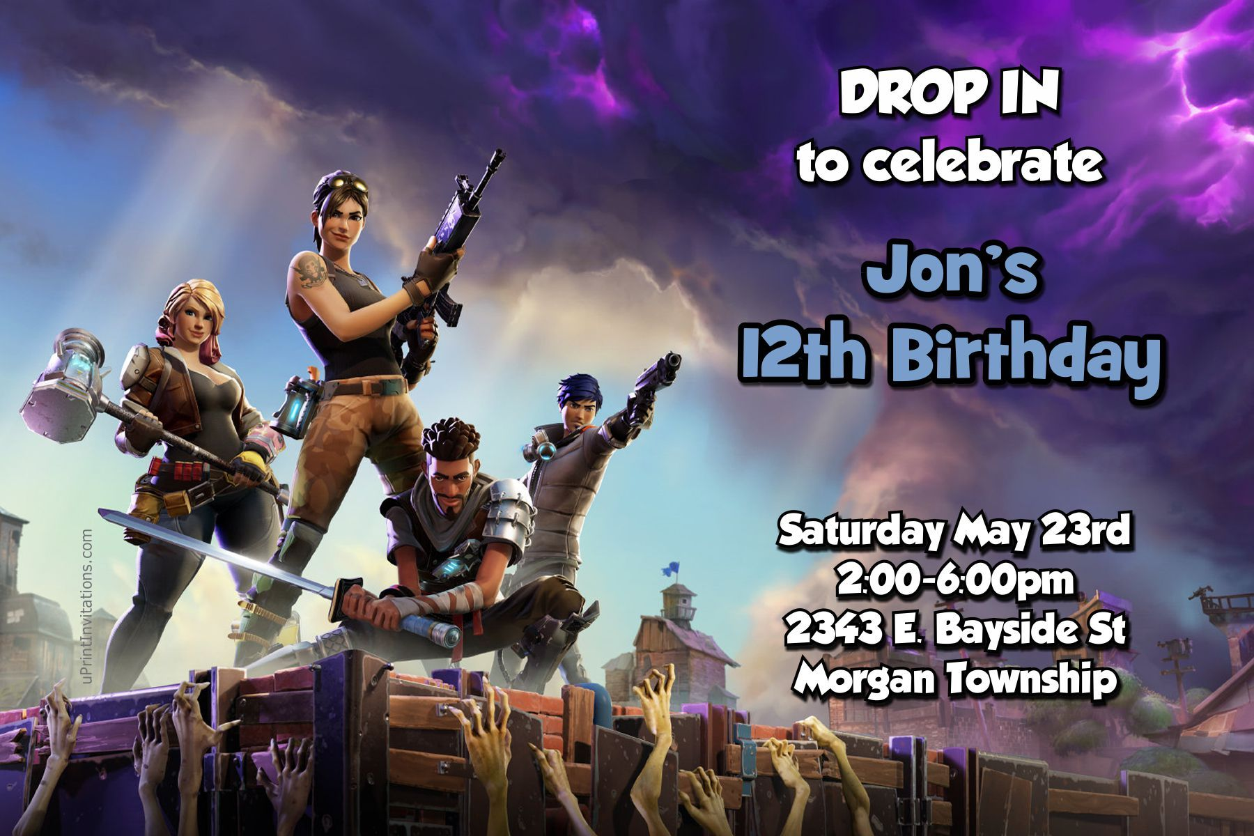 Fortnite Fortnight Birthday Invitations - Any Wording - Digital ...