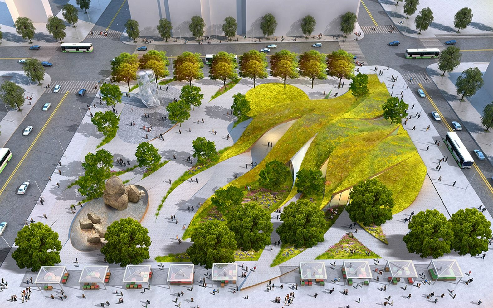 Rolling green 39 ribbons 39 proposed for new urban park in for Park landscape design