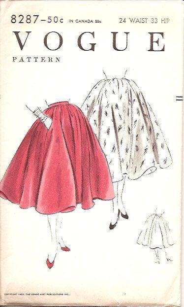 Vogue 8287 Vintage 50s Circle Skirt Sewing Pattern UNCUT