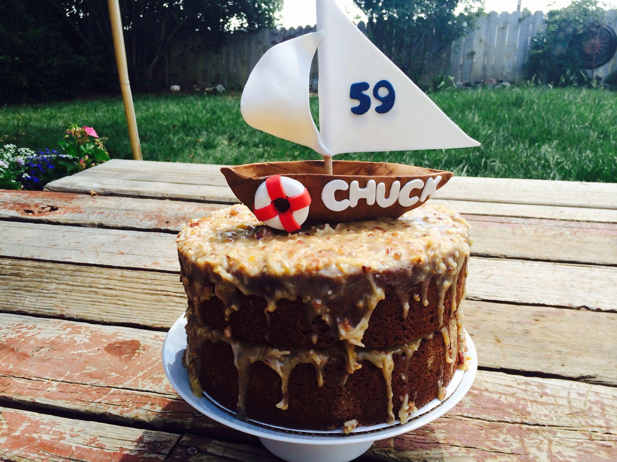 German Chocolate Cake #cakeonsunday #customcake #sailboat #sailing #germanchocolatecake #chocolatecake #birthdaycake