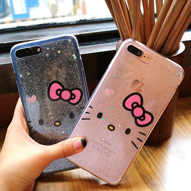 premium selection d2210 b6467 Cute Hello Kitty Glitter Bling Transparent Soft Case For iPhone X 7 ...