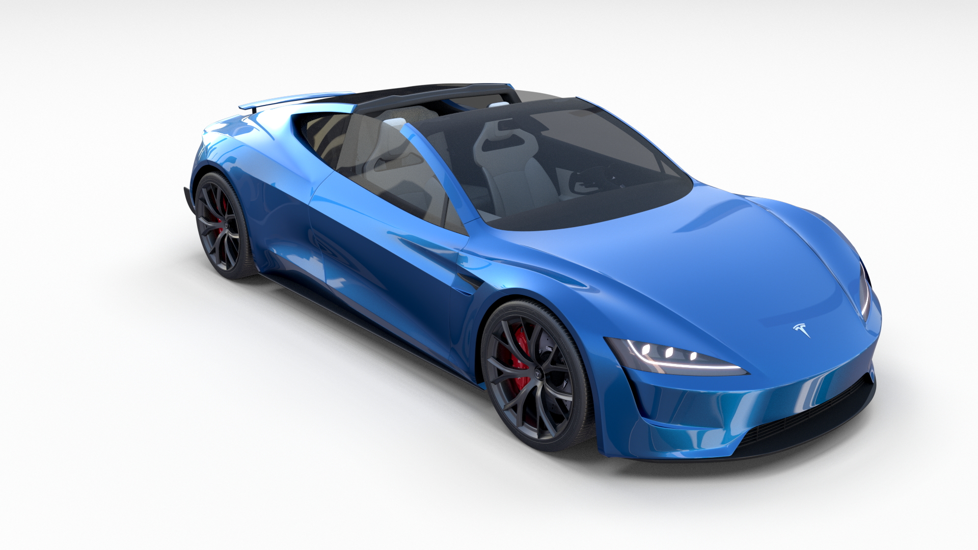 Tesla Roadster 2020 Electric Blue With Interior And Chassis