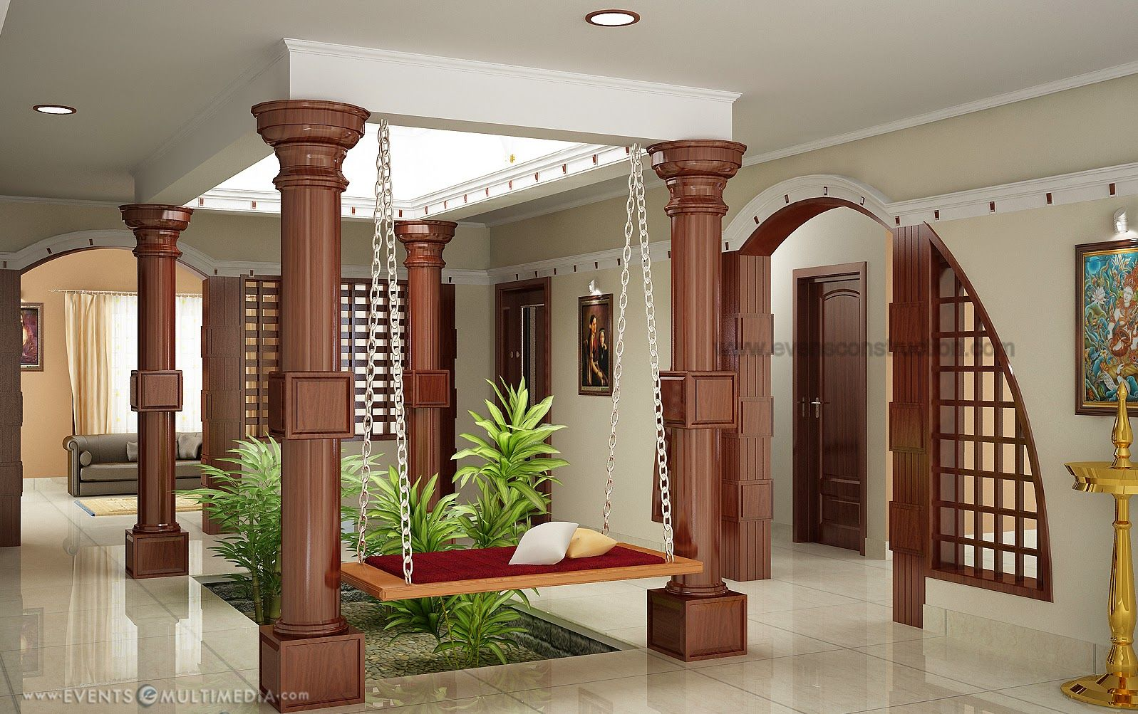 Kerala home with courtyard wooden pillers small courtyard open roof near to living area wooden partation between kitchen and living area