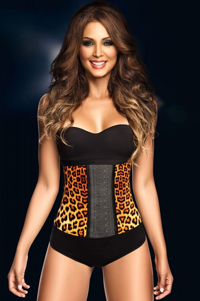 3c094b11ab Yellow Leopard Print 9 Steel Bones Latex Waist Trainer