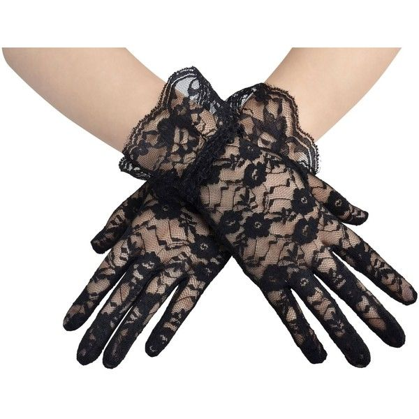 Amazon.com: AshopZ Women's Party Sexy Short Lace Wedding Dress Glove,... ($3.99) ❤ liked on Polyvore featuring accessories, gloves, black gloves, lace gloves, sexy gloves, party gloves and short black gloves