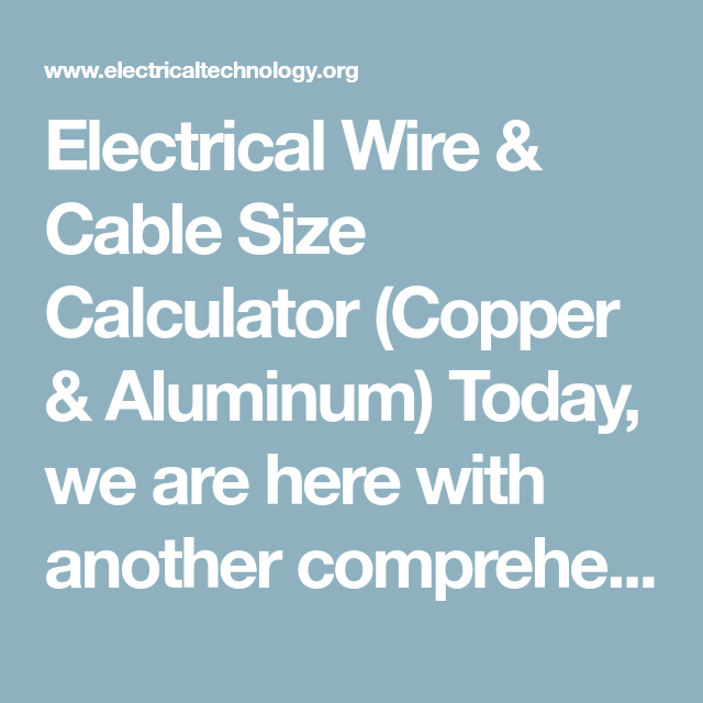 Superb Electrical Wire Cable Size Calculator Copper Aluminum Wiring Digital Resources Sapredefiancerspsorg