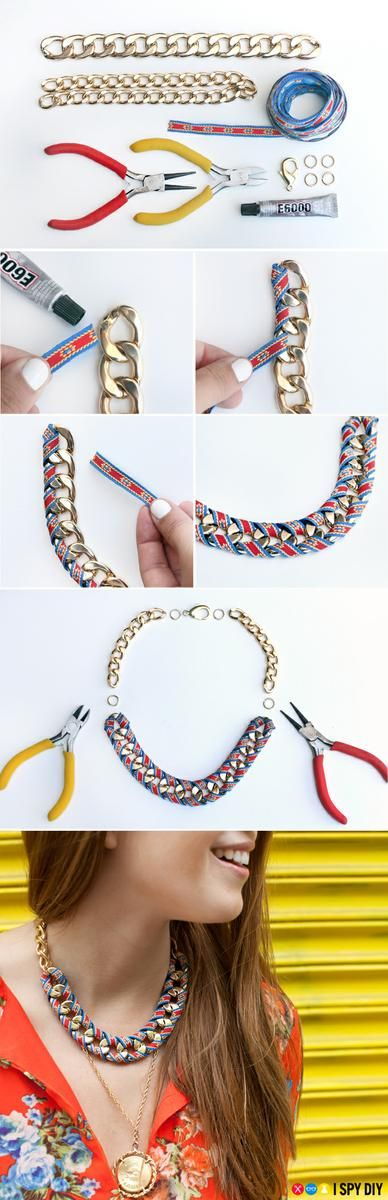 collar de cadena con tela paso a paso