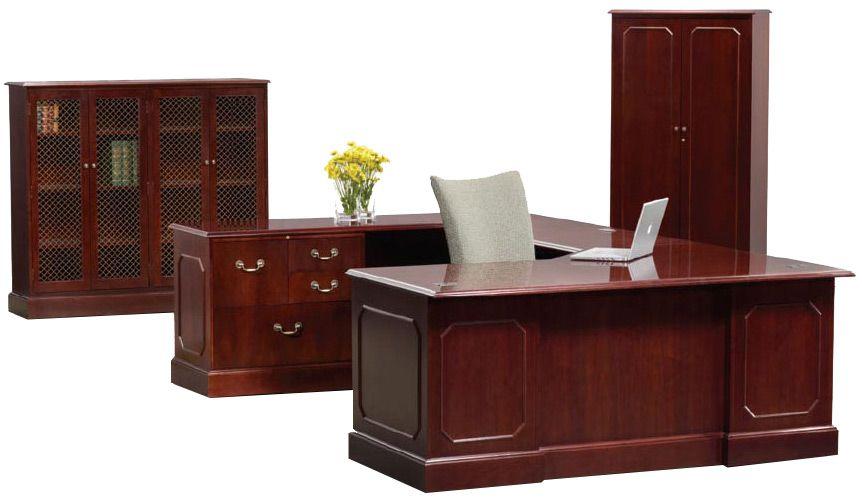 Heritage Series Solid Wood Traditional U Shape Executive Desk Executive Desk Set Traditional Desk Executive Desk