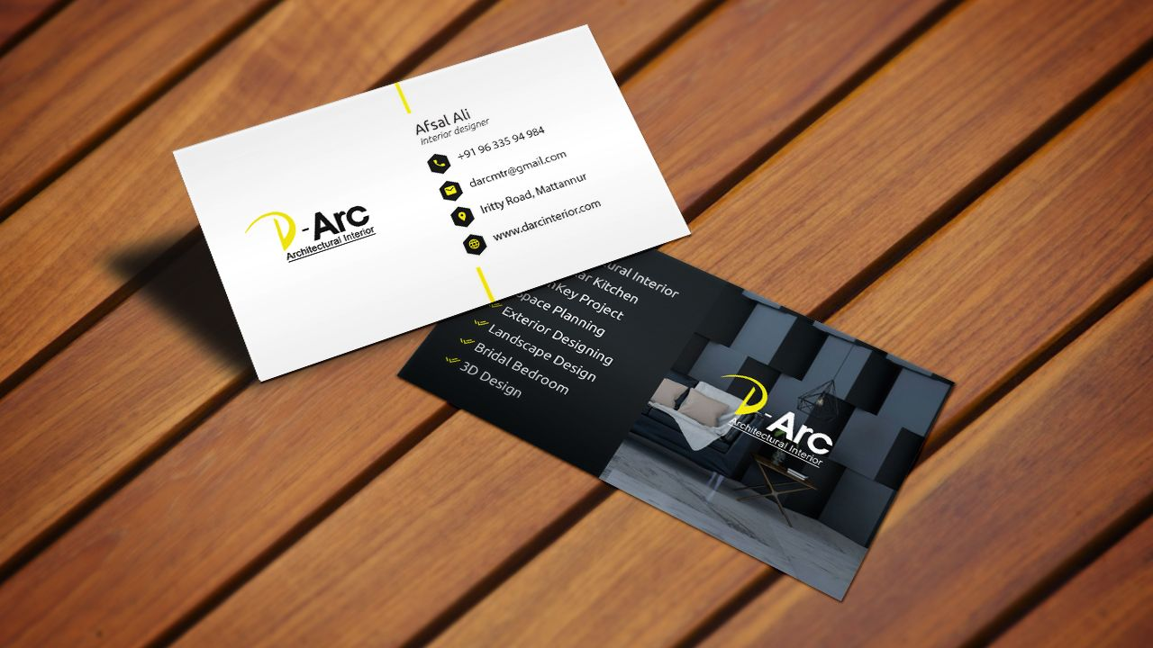 Business card design for interior design agency business