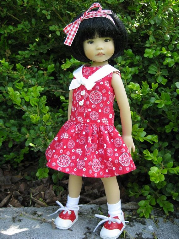 "RED SAILORGIRL made to fit 13"" Little Darling Effner Vinyl doll by Darla"