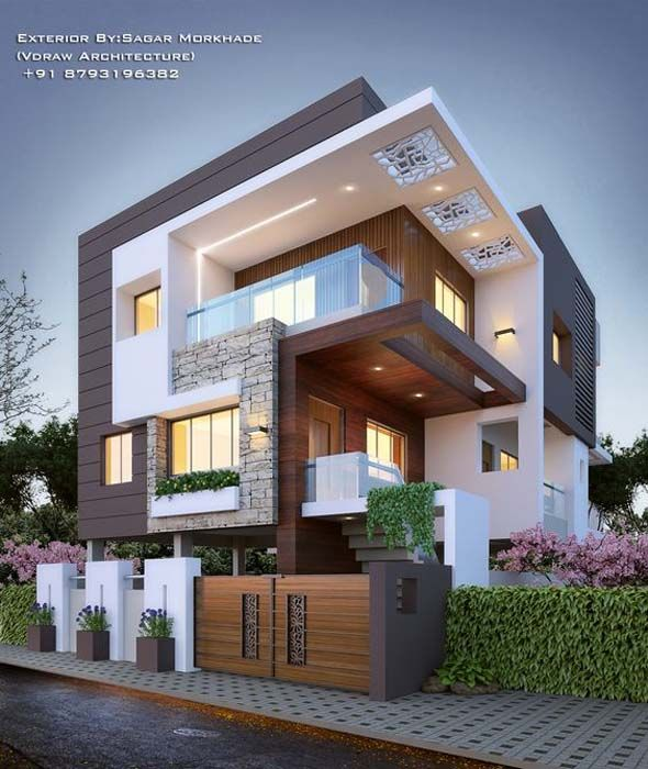 Modern Residential Exterior By Ar Sagar Morkhade: Fantastic Architecture Building Ideas To Inspire You
