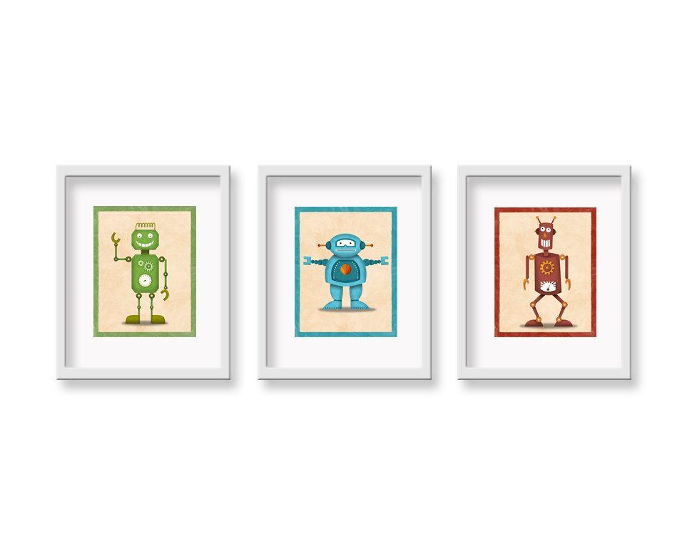 Robot Prints- YOU CHOOSE THREE 8 x 10 - Children's Decor Robot Wall Art Print - Children's Retro Robot  Art Theme Room Decor. $35.00, via Etsy.