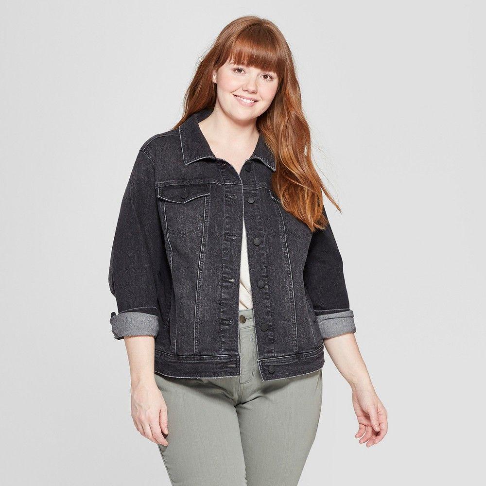 db4465b904f Women s Plus Size Freeborn Denim Jacket - Universal Thread Black 4X ...