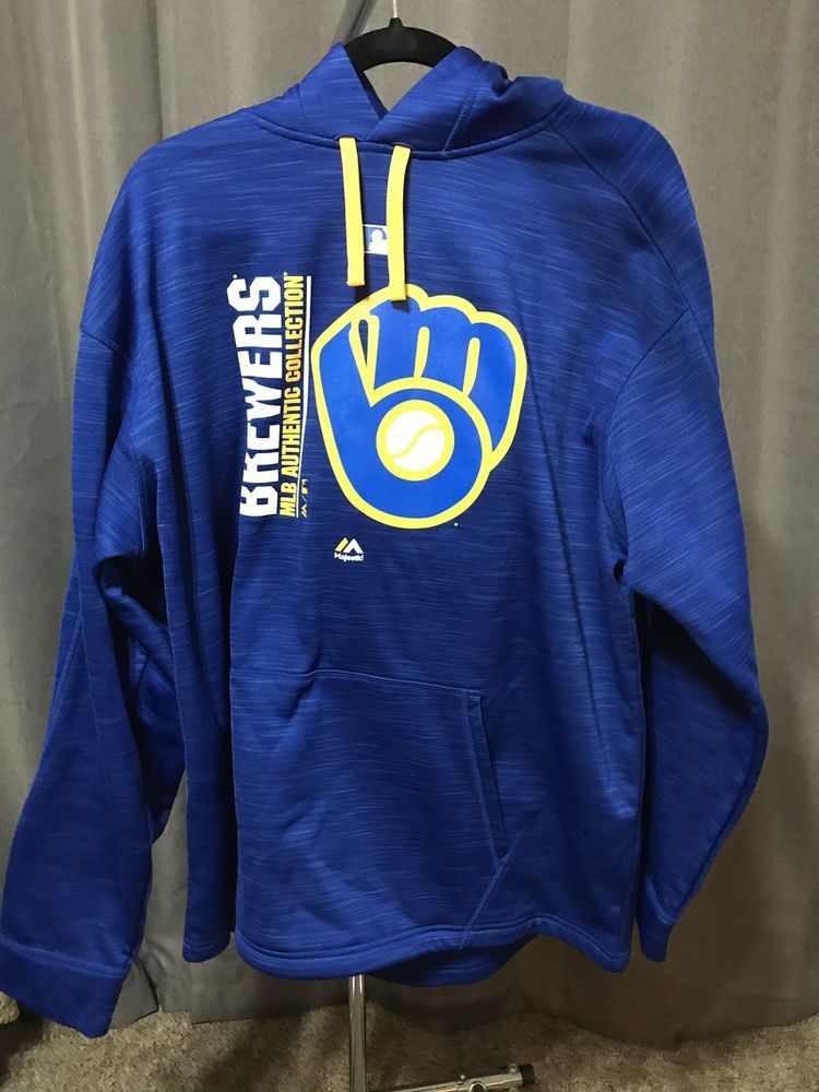 wholesale dealer 8c17a 59c28 XL Milwaukee Brewers Hooded Sweatshirt - MLB Authentic ...